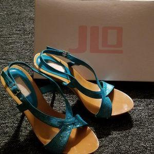 Jlo turquoise slingback shoes